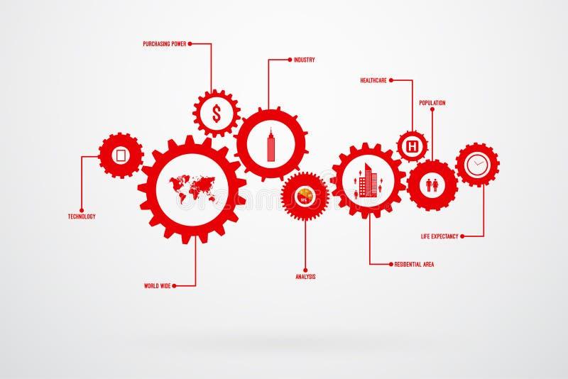 Vektor för kugghjul för Infographic designmall stock illustrationer
