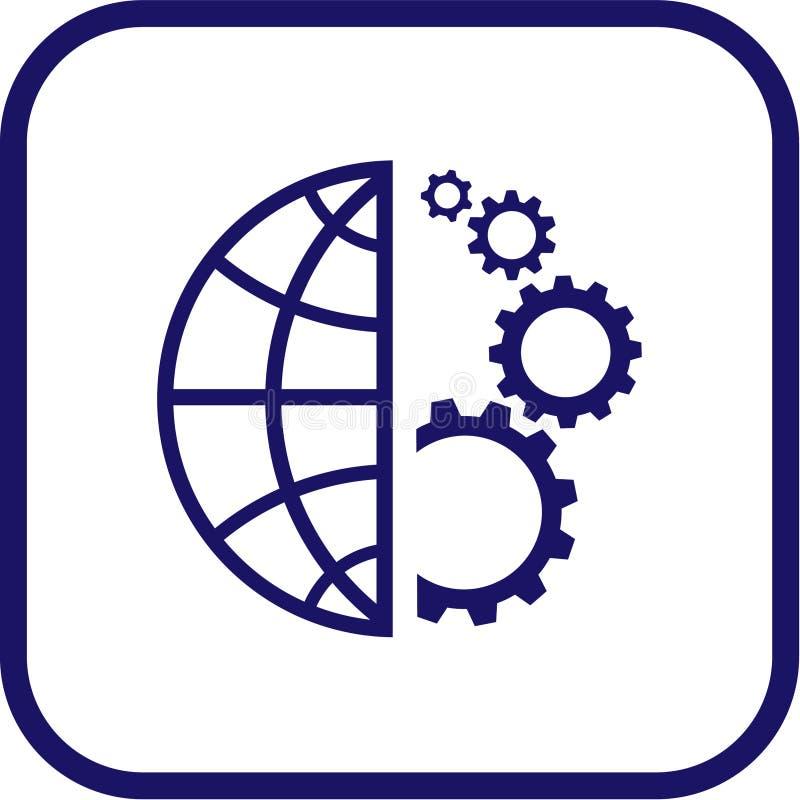 vektor för kugghjuljordklotsymbol royaltyfri illustrationer