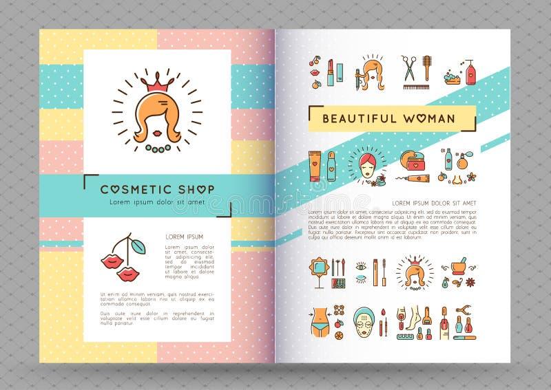 Vektor för kvinna för kosmetisk katalog för broschyr för skönhetbaner härlig vektor illustrationer