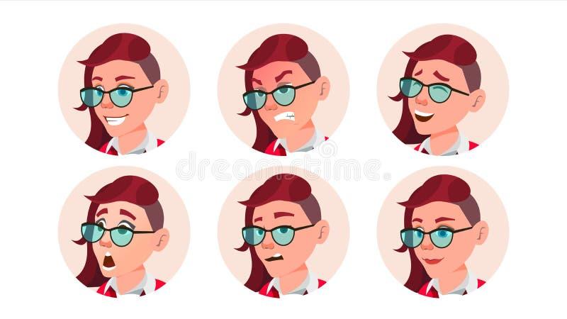 Vektor för kvinnaAvatarfolk Ansikts- sinnesrörelser E Rosa färger Användareperson Skönhetdam Lyckligt olyckligt vektor illustrationer