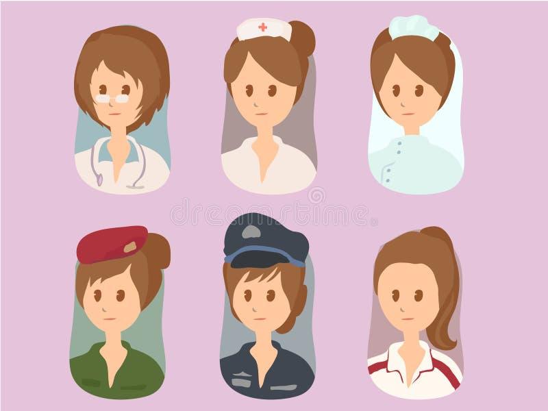 Vektor för kvinnatecknad filmuppsättning 1 stock illustrationer