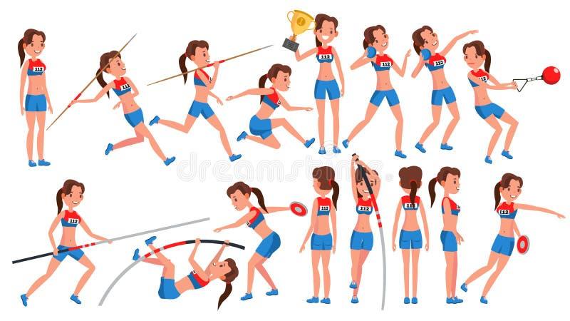 Vektor för kvinnlig för friidrottflickaspelare Konkurrens för idrotts- sport den färga utrustningillustrationen skidar sportvatte stock illustrationer