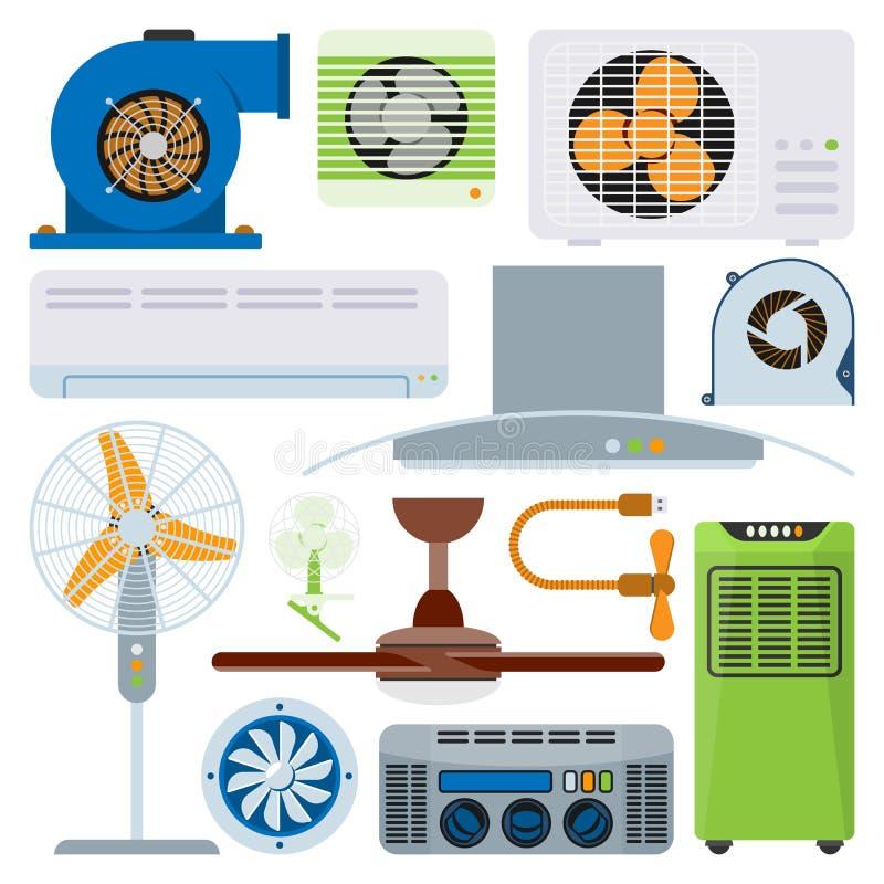 Vektor för kylare för temperatur för teknologi för fan för klimat för utrustning för ventilatorer för villkor för ventilationssys stock illustrationer