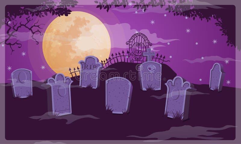 Vektor för kyrkogårdhalloween bakgrund arkivbilder