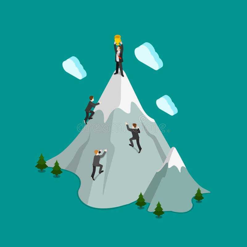 Vektor för lägenhet 3d för affär för trofé för vinnare för bergklättringöverkant isometrisk royaltyfri illustrationer
