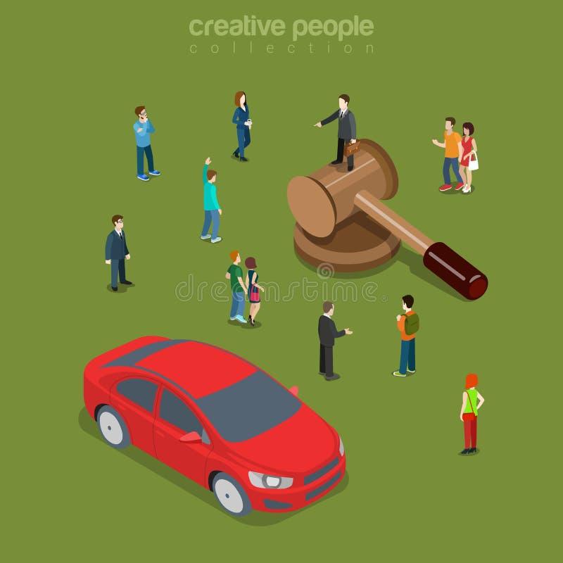 Vektor för lägenhet 3d för auktion för bilbilmedel isometrisk stock illustrationer