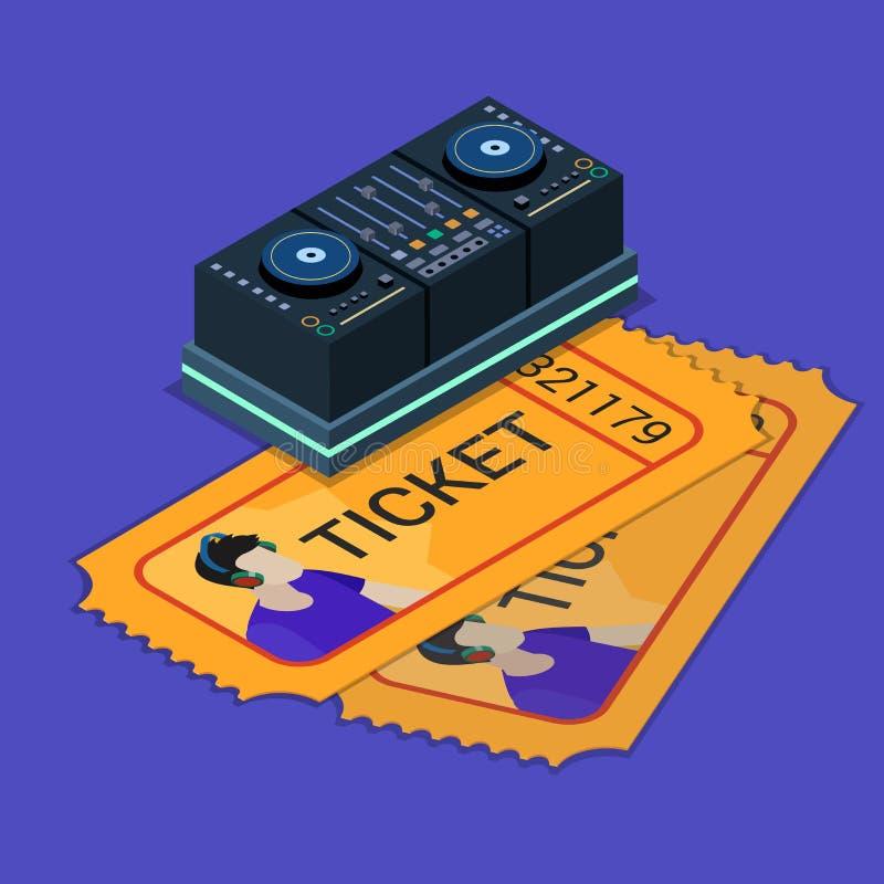 Vektor för lägenhet 3d för bokning för biljett för show för musik för discjockeydee-nötskrika nattklubb vektor illustrationer