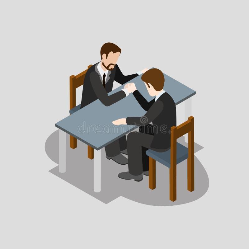 Vektor för lägenhet 3d för brottning för affärskonkurrensarm isometrisk vektor illustrationer