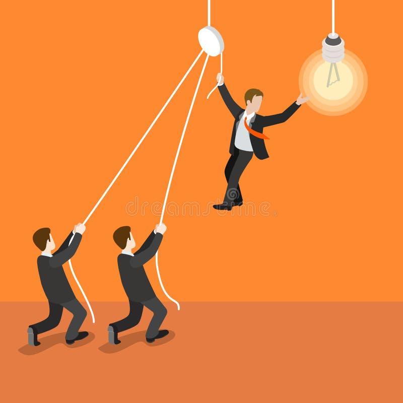 Vektor för lägenhet 3d för lampa för kula för ledarskapledareteamwork isometrisk stock illustrationer