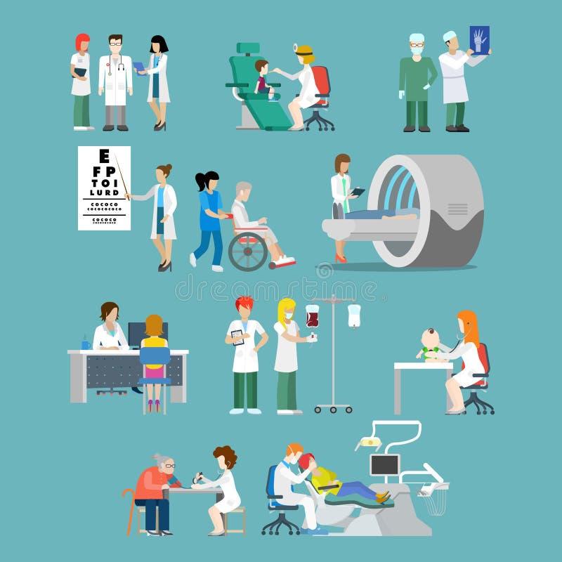 Vektor för lägenhet 3d för sjukhusyrkepatient isometrisk medicinsk vektor illustrationer