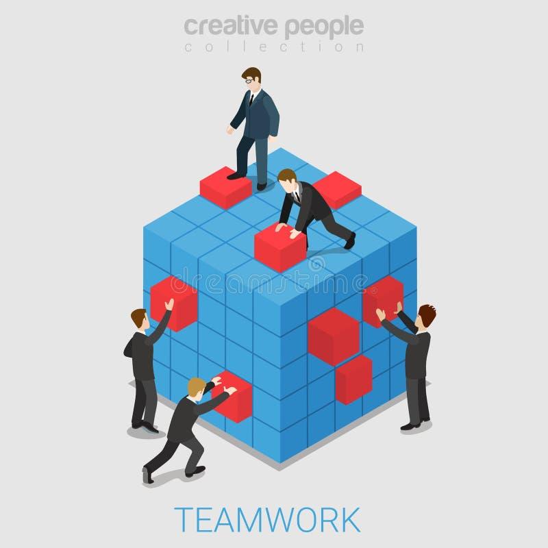 Vektor för lägenhet 3d för teamworkprojektsamarbete isometrisk royaltyfri illustrationer