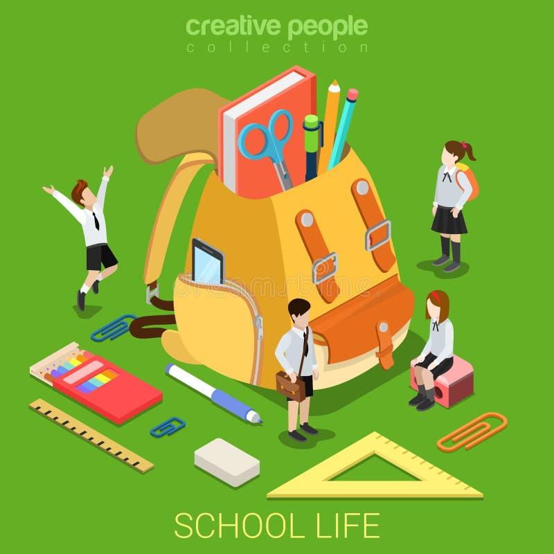 Vektor för lägenhet 3d för tillbehör för skolalivutbildning isometrisk royaltyfri illustrationer