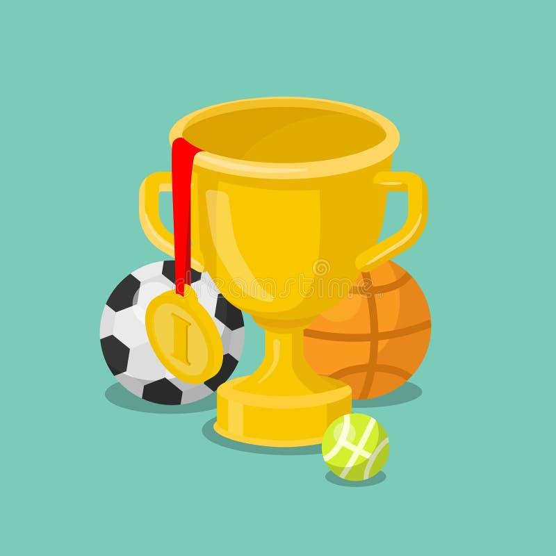 Vektor för lägenhet 3d för vinnare för seger för sport för trofékoppguldmedalj isometrisk stock illustrationer