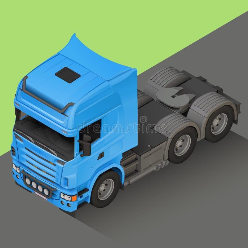 Vektor för lastbil för leveranslast isometrisk stock illustrationer