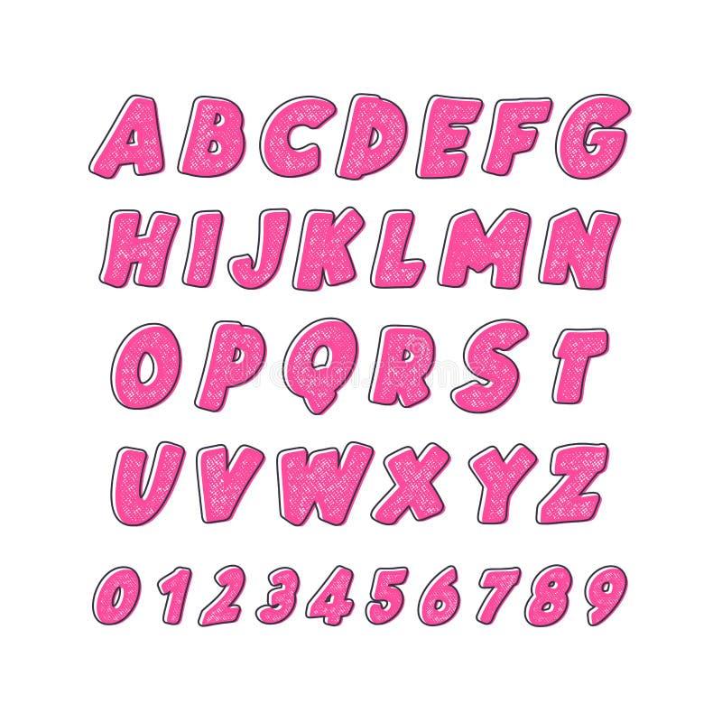 vektor för latin för alfabetillustrationindikator Stilsort för barn` s i gullig ljus färgtecknad filmstil royaltyfri illustrationer