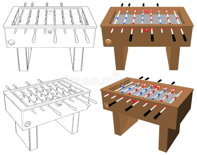 Vektor för lek för fotboll- och fotbolltabellbräde stock illustrationer