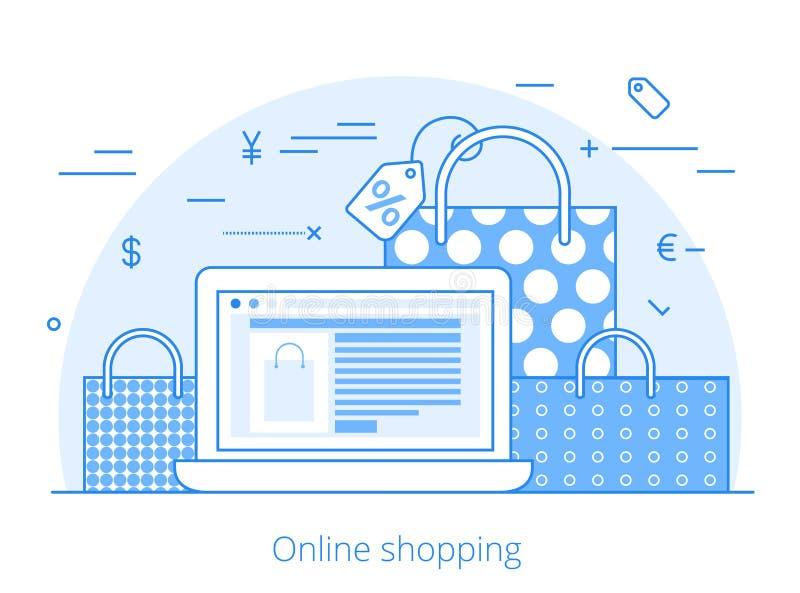 Vektor för Lineart plan online-shoppingwebsite royaltyfri illustrationer