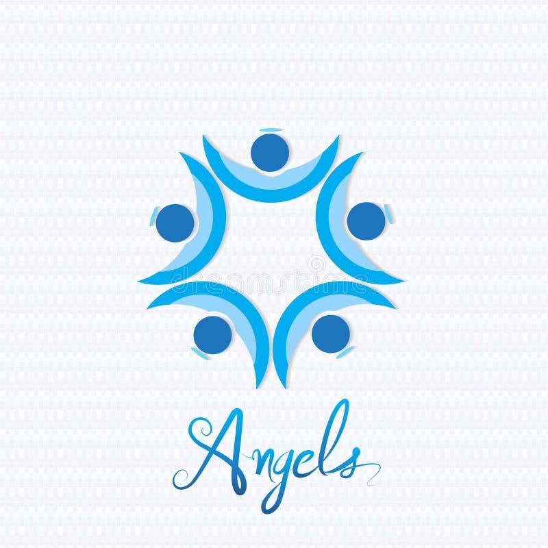 Vektor för logo för ängelteamworkfolk stock illustrationer