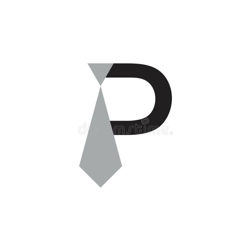 Vektor för logo för affärsman för slips för bokstav p enkel stock illustrationer