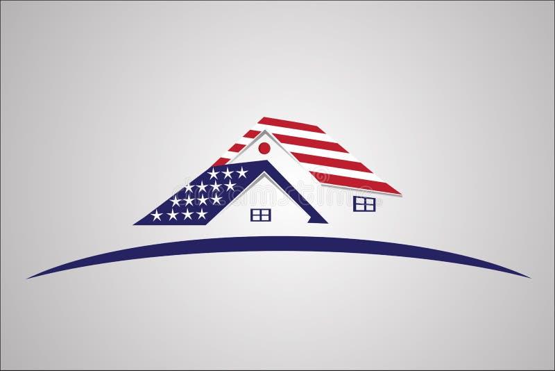 Vektor för logo för amerikanUSA hus stock illustrationer