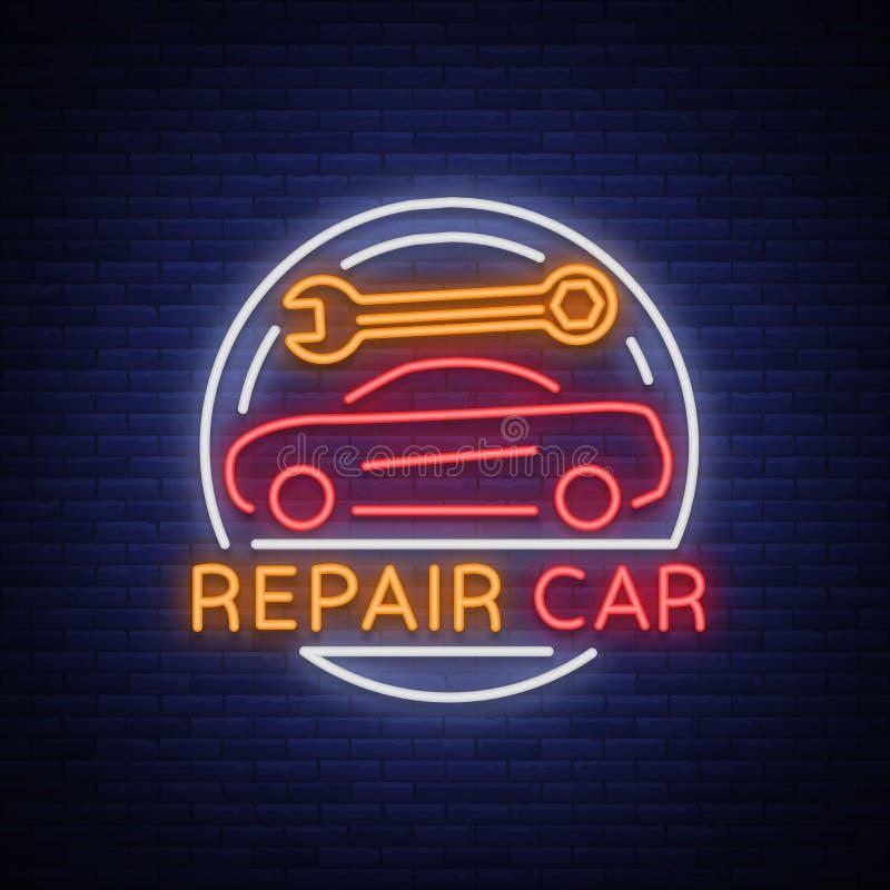 Vektor för logo för bilservicereparation, emblem för neontecken Vektorillustration, bilreparation, skinande skylt för garaget för royaltyfri illustrationer