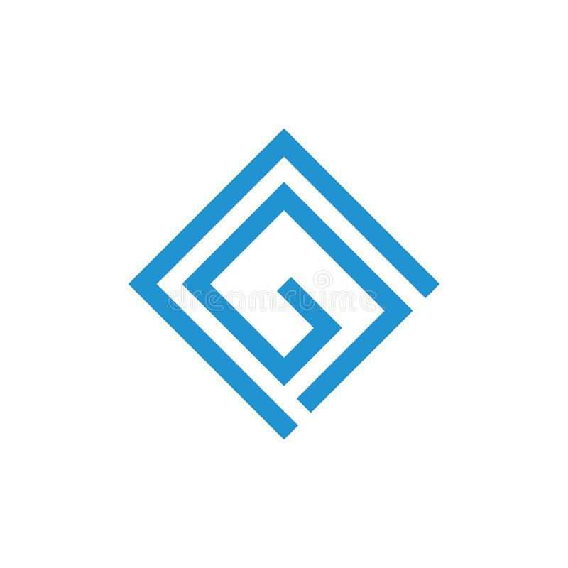 Vektor för logo för cg för abstrakta bokstäver geometrisk fyrkantig vektor illustrationer