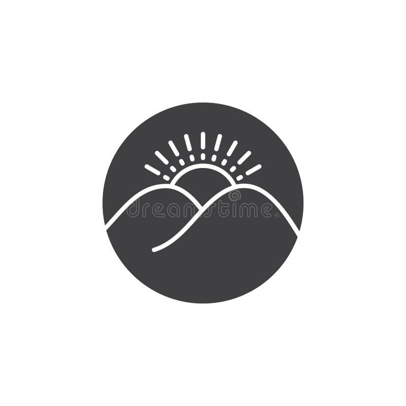 Vektor för logo för cirkel för soluppgångberg enkel royaltyfri illustrationer