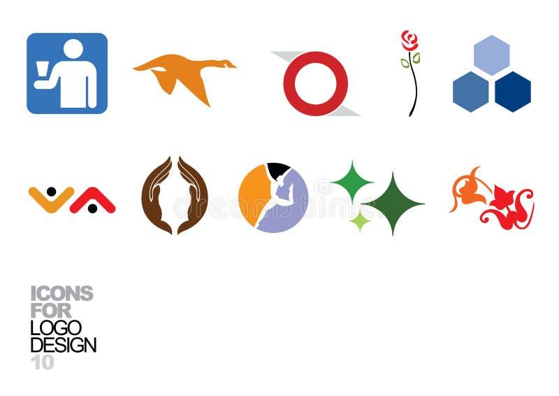 vektor för logo för 10 designelement royaltyfri illustrationer