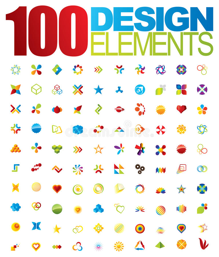 vektor för logo för 100 designelement stock illustrationer