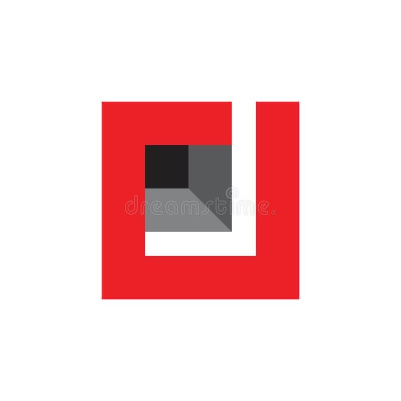 Vektor för logo för fyrkant 3d för abstrakt bokstavsrj enkel geometrisk stock illustrationer