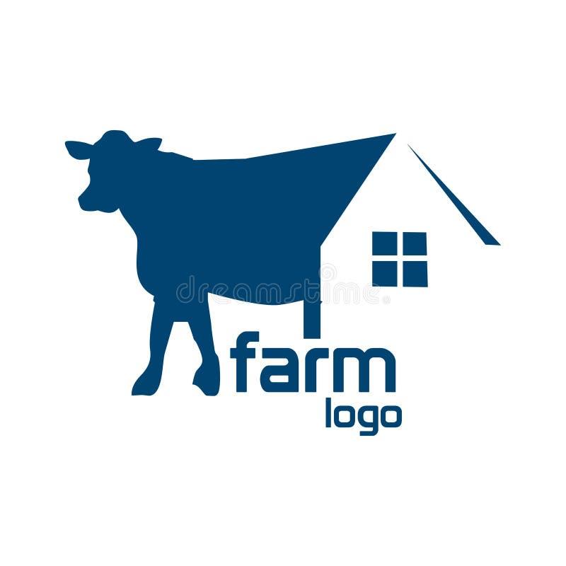 Vektor för logo för kohusmateriel abstrakt huslogo white f?r vektor f?r bakgrundsillustrationhaj royaltyfri illustrationer