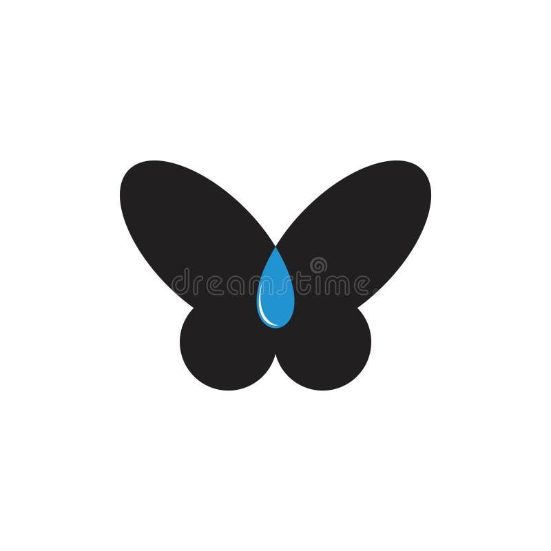 Vektor för logo för symbol för fjärilsdroppvatten naturlig stock illustrationer