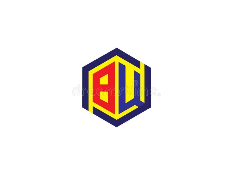 Vektor för logo för tecken för gemenskap för bokstavsBW sexhörning Enhetsymbol Företagspersonal Offentlig organisation Bra förhål vektor illustrationer