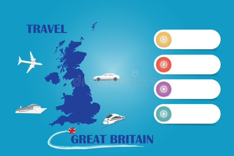 Vektor för loppStorbritannien mall stock illustrationer