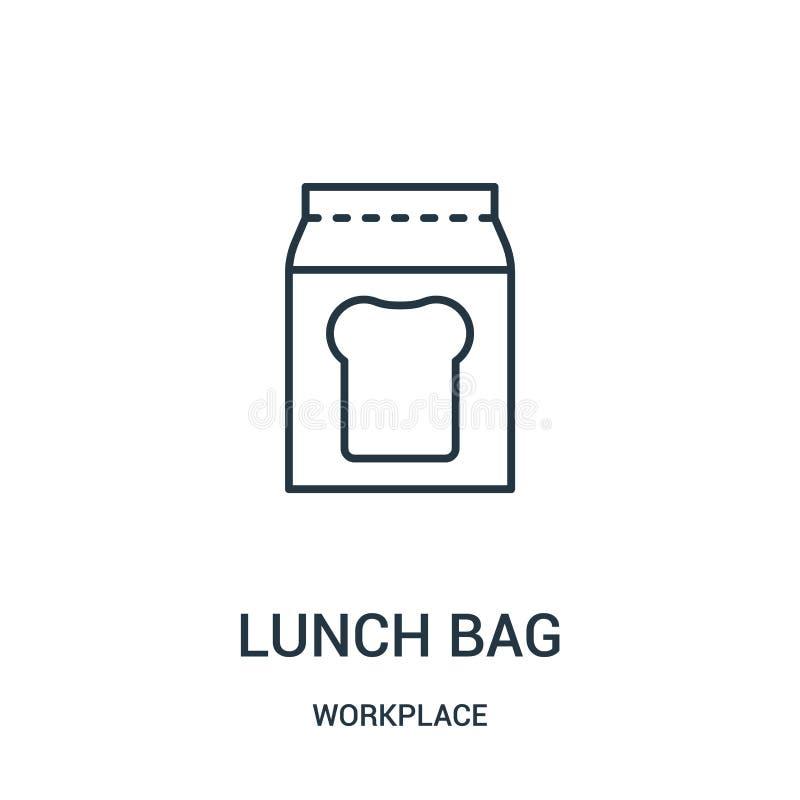 vektor för lunchpåsesymbol från arbetsplatssamling Tunn linje illustration för vektor för symbol för lunchpåseöversikt stock illustrationer