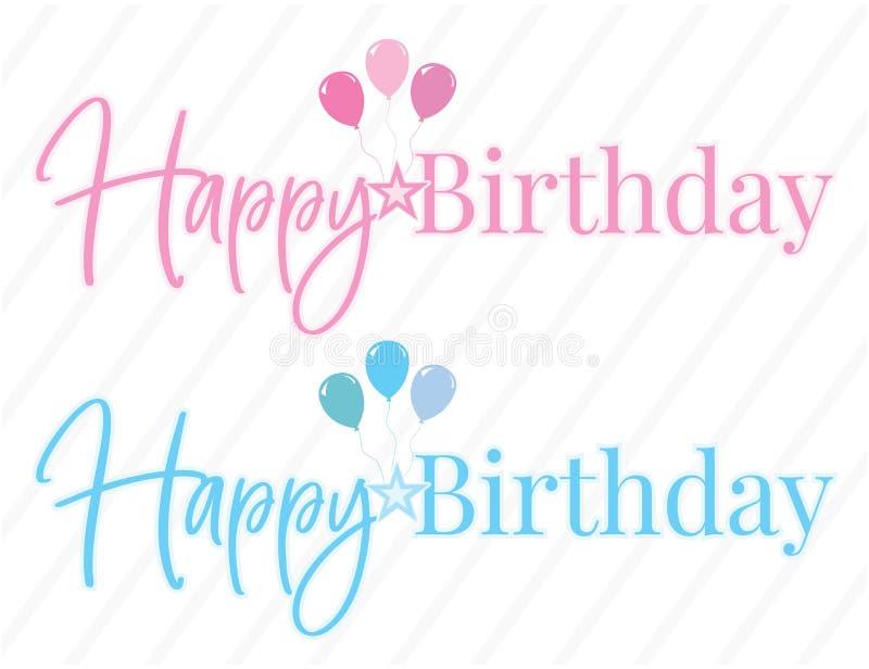 Vektor för lycklig födelsedag, färgrik uttrycka design, märka som isoleras på vit bakgrund Födelsedagpojke och flicka stock illustrationer