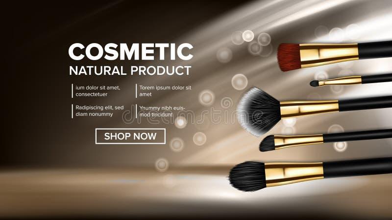 Vektor för makeupborstebaner Konstnärsymbol Fundamentomsorg Art Glamour accessory kvinnlig vit isolerad solglasögon Realistisk is stock illustrationer