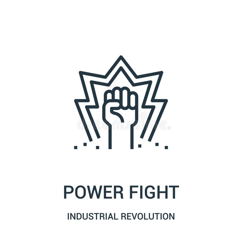 vektor för maktkampsymbol från samling för industriell revolution Tunn linje illustration för vektor för symbol för maktkampövers stock illustrationer