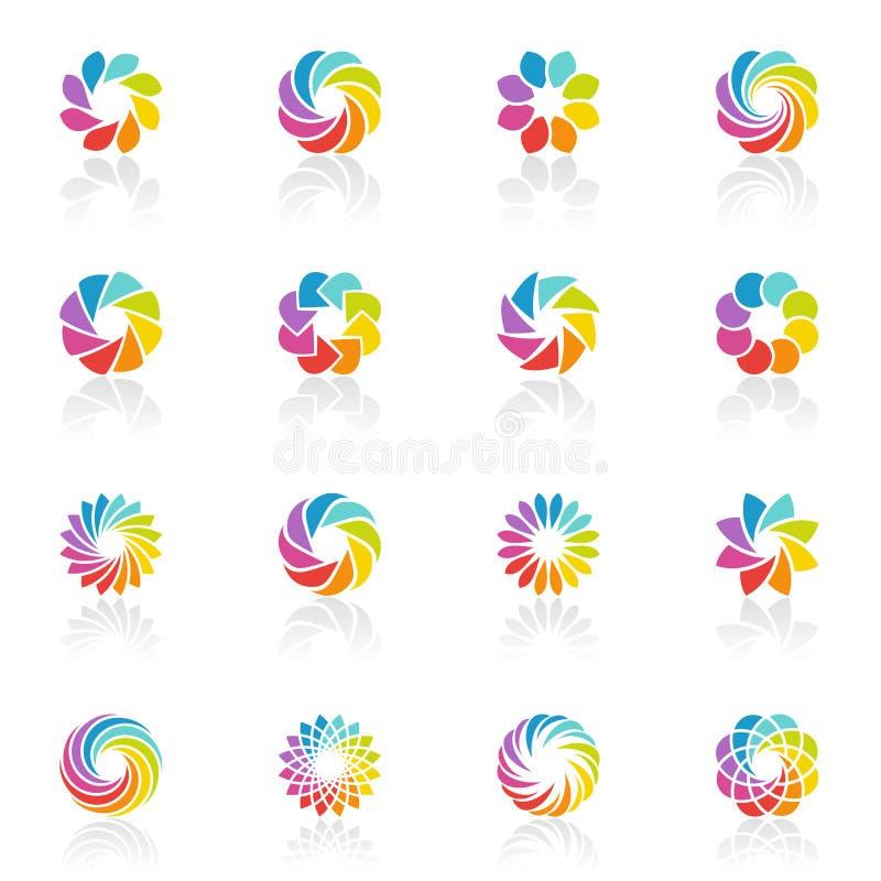 vektor för mall för fantasilogo set spektral- stock illustrationer