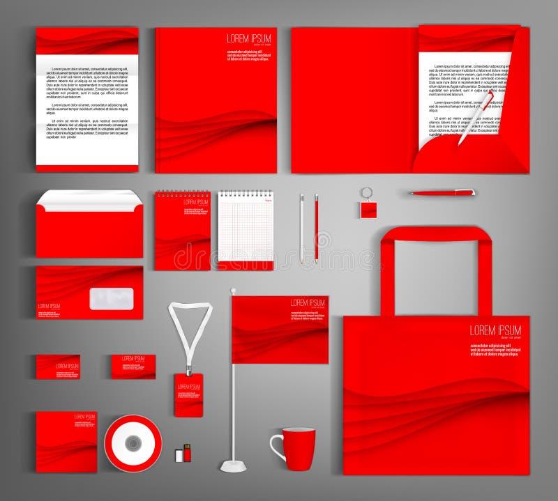 vektor för mall för identitet för illustrationsaffär företags Röd uppsättning med krabba linjer royaltyfri illustrationer