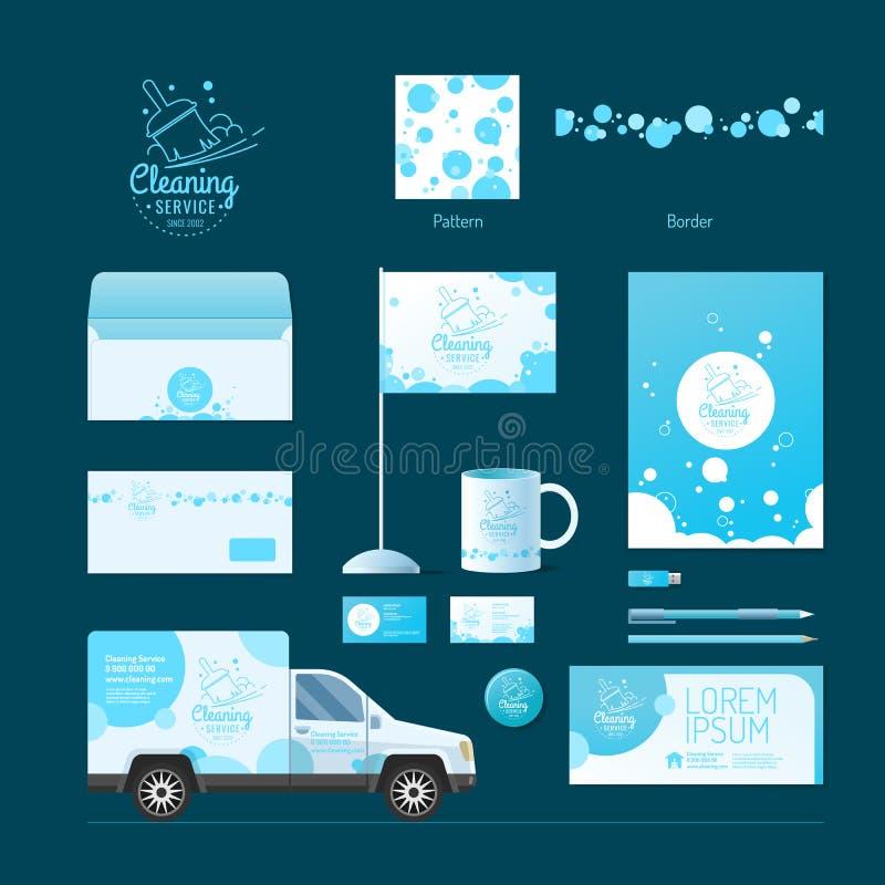 vektor för mall för identitet för illustrationsaffär företags rengörande service royaltyfri illustrationer