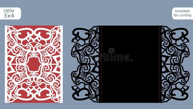 Vektor för mall för kort för inbjudan för laser-snittbröllop Stansad det pappers- kortet med den abstrakta modellen Kort för veck royaltyfri illustrationer