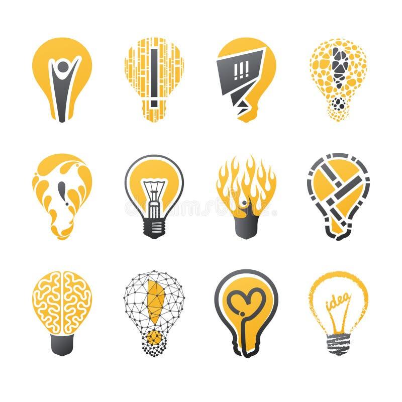 vektor för mall för logo för kulaidélampa set stock illustrationer