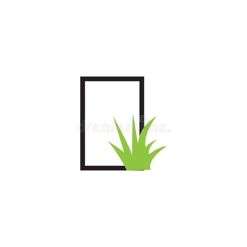 Vektor för mall för grafisk design för grässymbol royaltyfri illustrationer