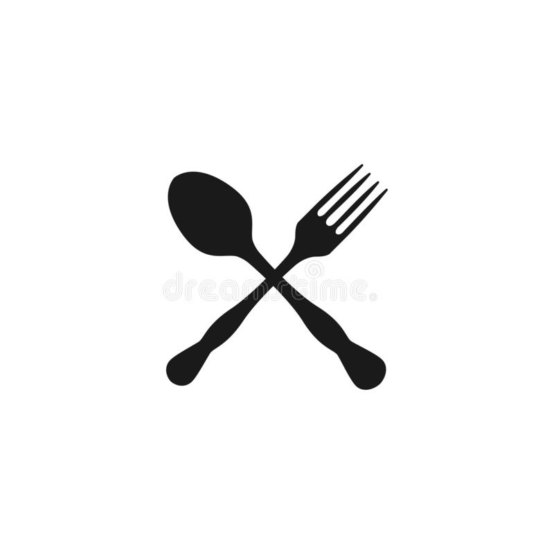 Vektor för mall för grafisk design för sked och för gaffel vektor illustrationer