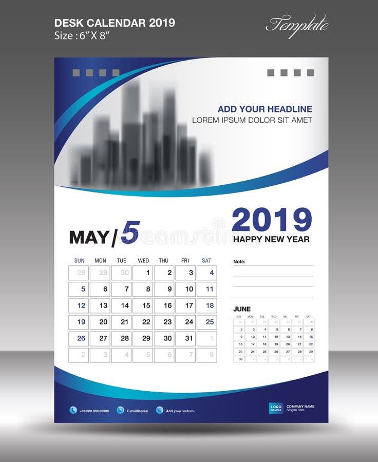 Vektor 2019 för mall för MAJ skrivbordkalender vektor illustrationer