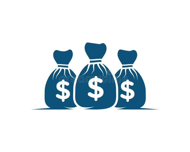 Vektor för mall för pengarpåsesymbol stock illustrationer