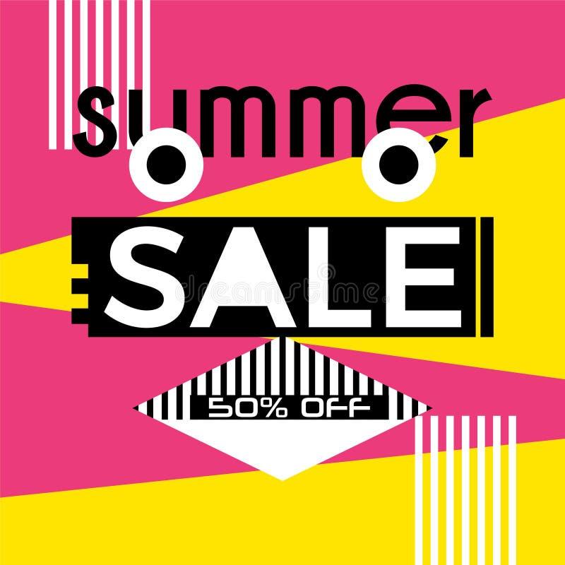 Vektor för mall för tappning för sommarförsäljningsdesign moderiktig färgrik royaltyfri illustrationer