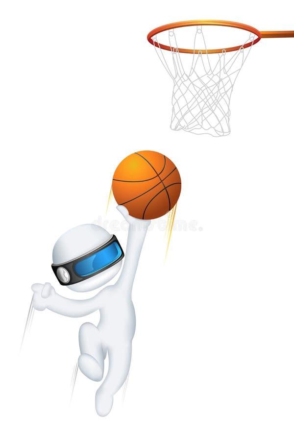 vektor för man för basket 3d leka royaltyfri illustrationer