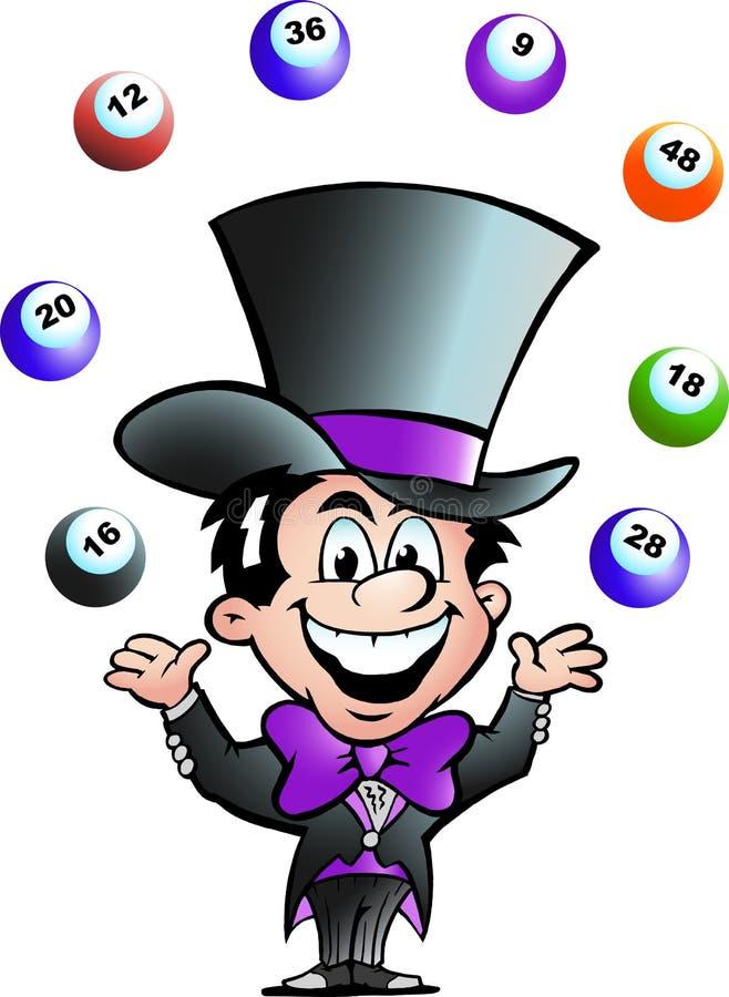 vektor för man för bingoillustration jonglera stock illustrationer